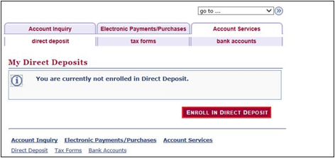 Mosaic Dashboard Direct Deposit Enrolling Screen