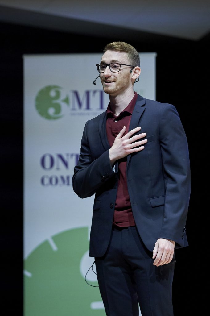 2019 McMaster 3MT champ, Matthew Campea, delivers his presentation during the Ontario provincial competition at the Wilson Concert Hall.