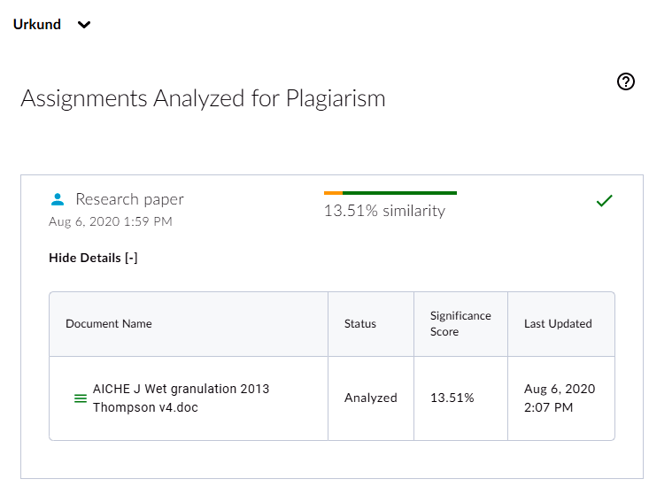 An Assignment window in the Urkund/Ouriginal course. The title of the Assignment window is in the upper left, called Research Papers. A research paper is listed in the completed analysis section of the window.