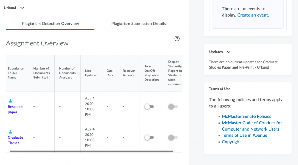 The assignment overview page shows eight columns. The final two columns on the right are showing switches that can be toggled on or off.